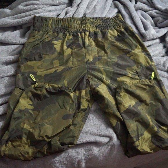 Army Green Capri Swishy Nylon Sweatpants
